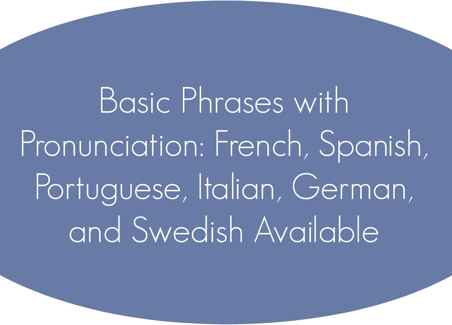 Basic Phrases with Pronunciation: French, Spanish, Portuguese, Italian, German, and Swedish Available