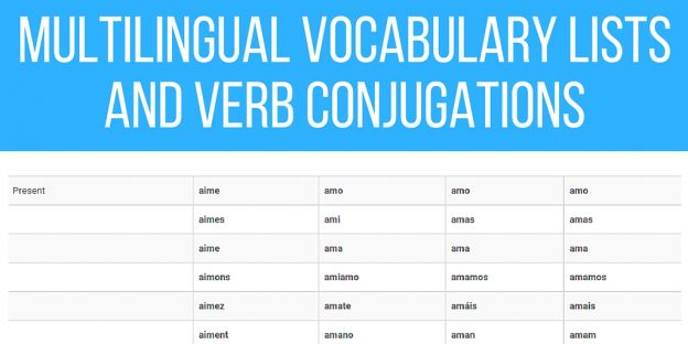 Multilingual Vocabulary Lists and Verb Conjugations to Learn Several Languages Together