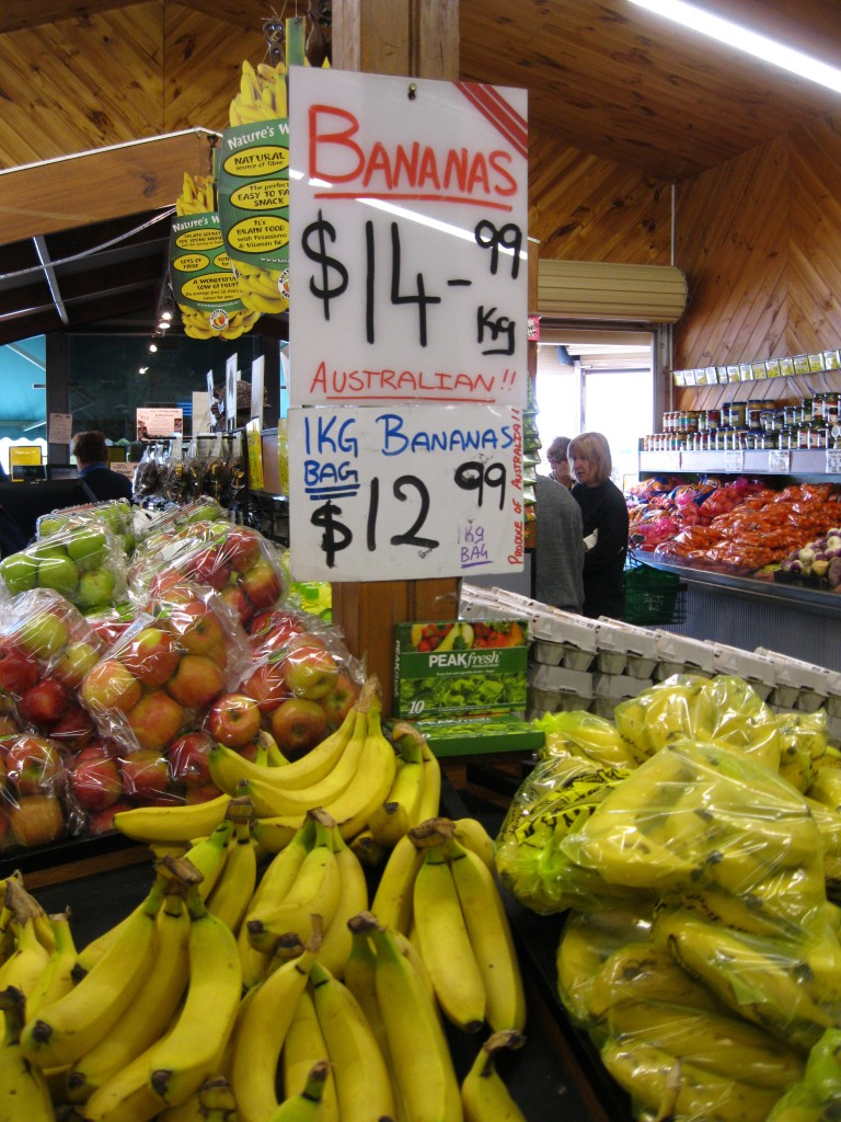 Cost of Living in Australia: Bananas were really this expensive in 2011!