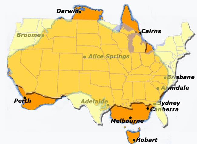 Sizes of Australia and US compared