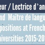 Lecteur d'anglais / Lectrice d'anglais / Maître de langue positions at French universities 2015-2016