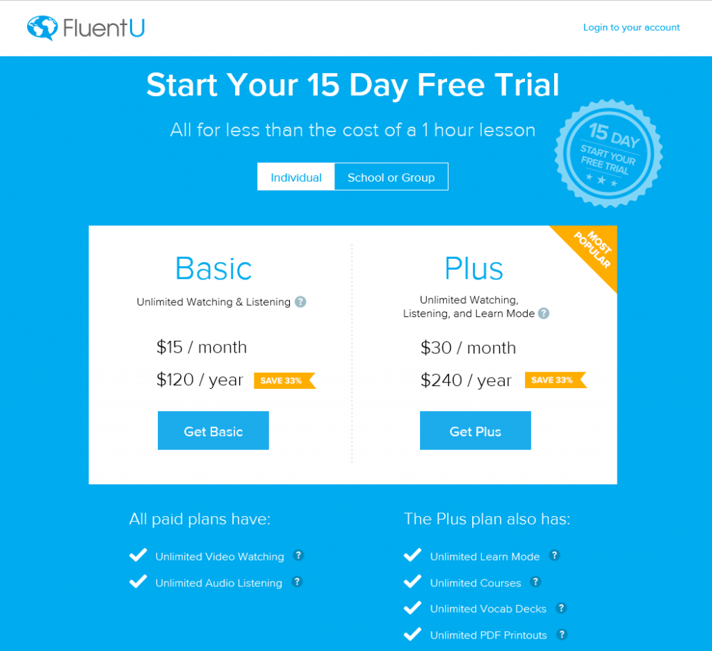 FluentU prices