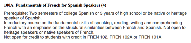 Fundamentals of French for Spanish Speakers Course at Cal State Long Beach