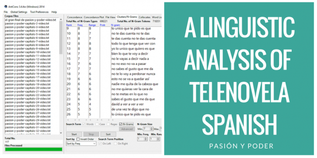 A Linguistic Analysis of Telenovela Spanish - What are the most frequent phrases in telenovelas?