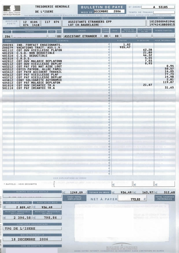 Tapif documents and links tapif guide france bulletin de paye december second paystub fandeluxe Image collections